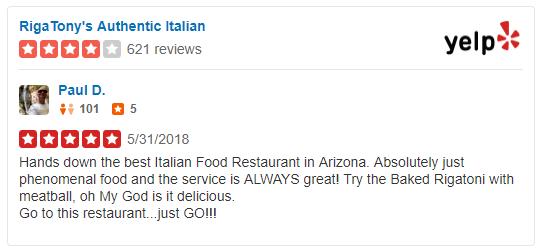 Italian Restaurant Tempe Rigatonys Authentic Italian Rigatonys